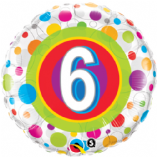 6th Birthday Colourful Dots Foil Balloon